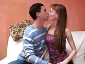 Amateur anorexic teen gives blowjob and gets creampied