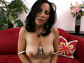 Zealous and kinky MILF Melissa Monet strips for the camera