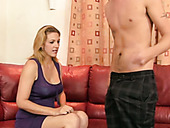 Naughty and horny MILF seduces young guy and blows his cock