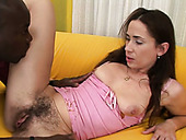 Insatiable brunette chick sucks her lover's BBC like crazy