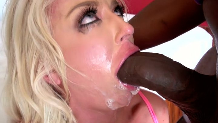Chunky milf deepthroats a black monster