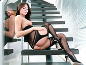 Breath taking brunette babe Michaela Isizzu fingerfucks on stairs