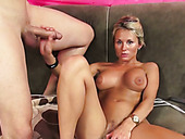 Buxom blond MILF Laura Crystal masturbates hard before solid BJ