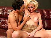 Sissy slave boy enjoys facesitting with his mature shemale whore