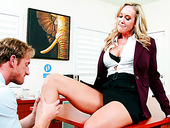 Horny boss Brandi Love makes Ryan Mclane lick her sweet pussy