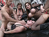 Anal orgy with Rocco Siffredi and three voluptuous vixens in lingerie