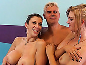 Asstastic MILF Sara Jay and skinny Alana Rains in FFM scene