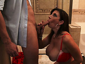 Awesome blowjob by Sara Jay to  Preston Parker in the bathroom