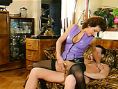 Retro blonde gives her head and brunette chick in stockings rides hard cock