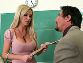 Big breasted blond sex bomb Nikki Benz blows staff penis of her college