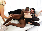 Black cock hunter Bobbi Starr and slutty Jessie Volt sucking dick deepthroat and getting hard anal pounding
