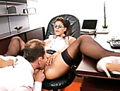 Desirable secretary Defrancesca Gallardo is banged hard in the office