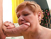 Mature harlot enjoys sucking big cock of one young dude living nextdoor