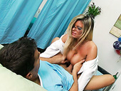 Four eyed blonde nurse gives deepthroat blowjob to one horny patient