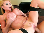 Lustful blonde Taylor Wane gets her welcoming pussy rammed hard on the bass's table