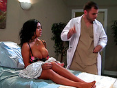 Busty patient Sienna West gets her pussy licked by kinky doctor