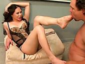 Bosomy Asian tranny with long legs sucks staff dick of her white dude