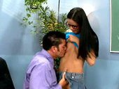 Lusty college slut gets her shaved pussy licked by horny teacher