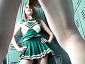 Spoiled cheerleader gets naughty and dirty in the locker room