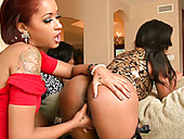Stout in back black hoochies have kinky lesbian group sex