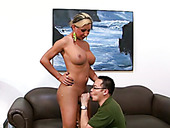 Kinky dude loves to lick armpits of busty shemale blonde