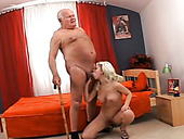 Freaky 84 years old man enjoys getting his cock sucked by young blond bitch
