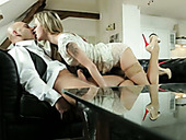 Greedy for cum blonde gives yum-yum blowjob and rides stiff dick