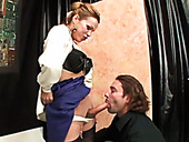 Amazing and hot light haired shemale gets a blowjob
