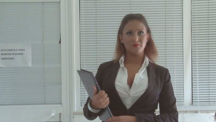 Kinky secretary gives stout blowjob to her boss right in the office