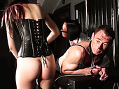 Sissy slave boy gets punished by two gorgeous mistresses