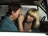 Naughty lesbian Sonia gives tongue job to her lesbian girlfriend in the car