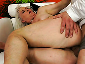 Young dude polishes and fucks old snatch of cougar woman