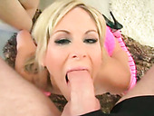 Zealous blond haired hussy performs hard and steamy deep throat