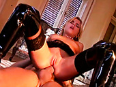 Booty blond MILF in latex boots gets ass fucked in sideways style