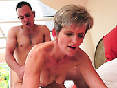 Sexperienced grannie rides cock face to face and kisses young dude