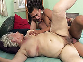 Horny young dude tries to satisfy old chubby whore