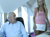 Old fart gets brutally fucked by insanely gorgeous maid