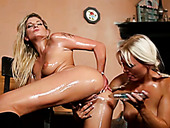 Four stunning babes oiling up and masturbating each others slits