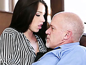 Pretty young brunette gets her anus rimmed by brutal old dude