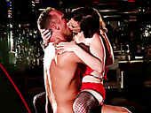 Lusty brunette pole dancer with gorgeous body gets doggy fucked right at the stage