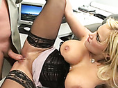 Perverted secretary gets her cunt rammed hard while talking on the phone