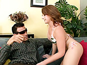 Dirty light haired tramp deep throats staff dick of brutal fellow in sunglasses