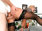 Hungry 4 eyed dude doggy fucks busty blond MILF hard