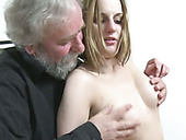 Perverted young harlot is gonna suck big cock of her 85 years old stud