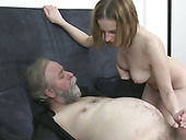Rapacious fair haired chick blows smelly penis of 80 years old stud