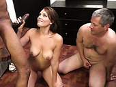 Freaky guy watched his busty brunette babe Kayla West getting fucked by black stud