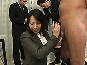 Busty Asian business woman blows black sweet sausage in the office