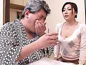 Sexy Asian girl treats her grey haired freaky stud with solid BJ