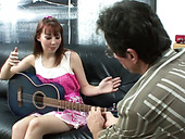 Mature musician pleases slutty redhead girl with solid cunnilingus