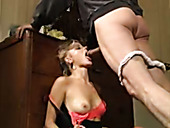 Bootylicious blond bitch gets mouth fucked by her brutal freak rough